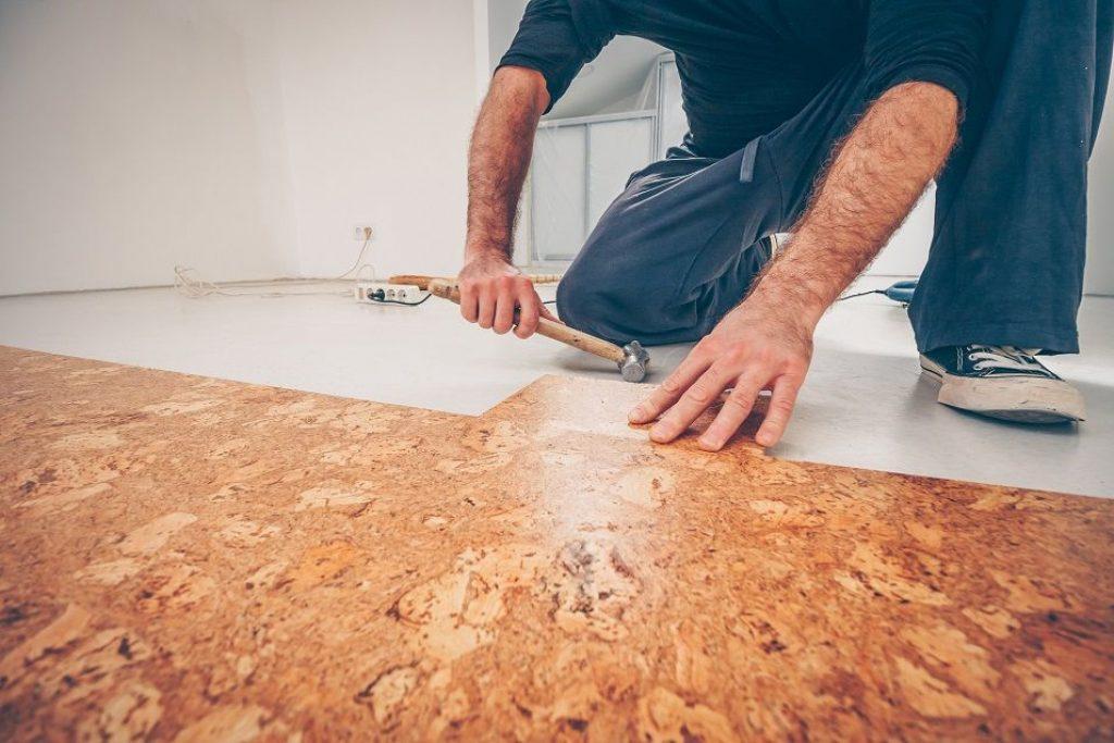 diy cork bathroom floor